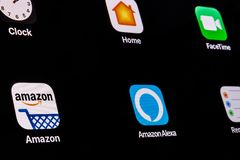 Indianapolis - Circa April 2018: Amazon and Echo Alexa App. Amazon.com is the Largest Internet-Based Retailer in the US VI. Amazon and Echo Alexa App. Amazon.com stock photos