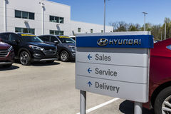 Indianapolis - Circa April 2017: Hyundai Motor Company Dealership. Hyundai is a South Korean Automotive Manufacturer IV. Hyundai Motor Company Dealership Royalty Free Stock Photos