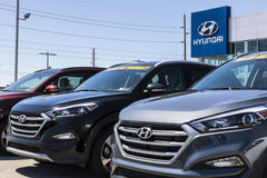 Indianapolis - Circa April 2017: Hyundai Motor Company Dealership. Hyundai is a South Korean Automotive Manufacturer VIII Stock Photos