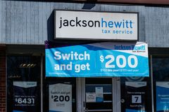 Jackson Hewitt tax service location. Jackson Hewitt is the second largest tax preparation service in the US I. Indianapolis - Circa April 2019: Jackson Hewitt royalty free stock photos