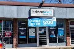 Jackson Hewitt tax service location. Jackson Hewitt is the second largest tax preparation service in the US II. Indianapolis - Circa April 2019: Jackson Hewitt royalty free stock image