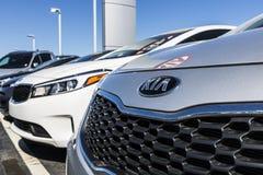 Indianapolis - Circa April 2017: Kia Motors Local Car Dealership. Kia Motors is minority owned by the Hyundai Motor Company III Stock Photo