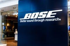 Indianapolis - Circa April 2018: Kleinhandels de wandelgalerijplaats van het Bosebedrijf Bose vervaardigt hoog eind audiomateriaa royalty-vrije stock afbeelding