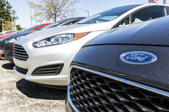 Indianapolis - Circa April 2017: A Local Ford Car and Truck Dealership. Ford sells products under the Lincoln brand VI Royalty Free Stock Image