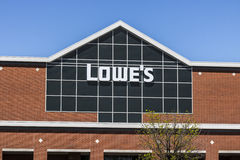 Indianapolis - Circa April 2017: Lowe`s Home Improvement Warehouse. Lowe`s operates retail home improvement stores IV Stock Photo