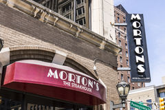 Indianapolis - Circa April 2017: Morton`s The Steakhouse Downtown Restaurant. Morton`s is a legendary steakhouse I. Morton`s The Steakhouse Downtown Restaurant royalty free stock photography