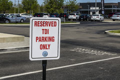 Indianapolis - Circa April 2017: Volkswagen Cars and SUV Dealership Sign allowing parking for TDI Only IX Royalty Free Stock Image