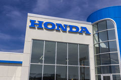 Indianapolis - Circa August 2016: Honda Motor Co. Logo and Sign. Honda Manufactures Among the Most Reliable Cars in the World III Royalty Free Stock Photo
