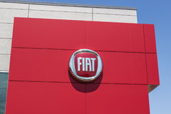 Indianapolis - Circa August 2017: Logo and signage of local Fiat dealership. Fiat is part of FCA I. Logo and signage of local Fiat dealership. Fiat is part of stock photo