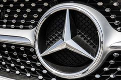 Indianapolis - Circa August 2017: Mercedes-Benz Logo. Mercedes-Benz is a global automobile manufacturer IV Royalty Free Stock Photo