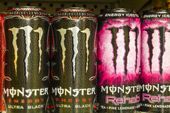 Indianapolis - Circa August 2016: Monster Beverage Display. Monster Corporation manufactures energy III Royalty Free Stock Photos