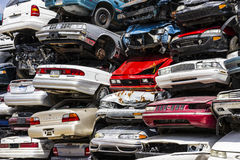 Indianapolis - Circa August 2016 - A Pile of Stacked Junk Cars - Discarded Junk Cars Piled Up V Stock Photography