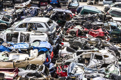 Indianapolis - Circa August 2016 - A Pile of Stacked Junk Cars - Discarded Junk Cars Piled Up VI Stock Photos