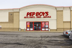 Indianapolis - Circa December 2016: Pep Boys Auto Parts Retail Location. Pep Boys is a full-service aftermarket chain II. Pep Boys Auto Parts Retail Location Royalty Free Stock Photo