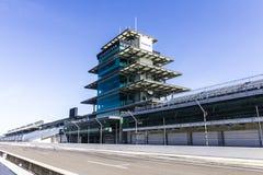 Indianapolis - circa febbraio 2017: La pagoda di Panasonic a Indianapolis Motor Speedway X fotografie stock libere da diritti