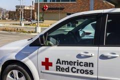 Indianapolis - circa febrero de 2017: HQ americano de la ayuda humanitaria de la Cruz Roja La Cruz Roja americana proporciona la  Imagenes de archivo