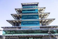 Indianapolis - Circa Februari 2017: Den Panasonic pagoden på Indianapolis Motor Speedway VIII Royaltyfria Bilder