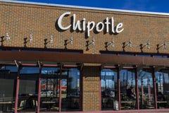 Indianapolis - Circa Februari 2017: Restaurant van de Chipotle het Mexicaanse Grill Chipotle is een Ketting van Burrito-Fast-Food Royalty-vrije Stock Foto's