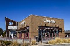 Indianapolis - Circa Februari 2017: Restaurant van de Chipotle het Mexicaanse Grill Chipotle is een Ketting van Burrito-Fast-Food royalty-vrije stock afbeelding