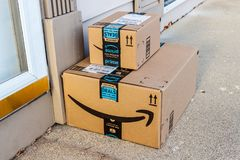 Indianapolis - Circa February 2018: Amazon Prime Parcel Package. Amazon.com is a premier online retailer I. Amazon Prime Parcel Package. Amazon.com is a premier royalty free stock photo