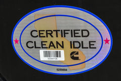 Indianapolis - Circa February 2017: Cummins California Clean Idle Sticker I Stock Photos