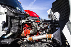 Indianapolis - Circa February 2017: Engine Compartment of a Semi Tractor Trailer Truck I Royalty Free Stock Images