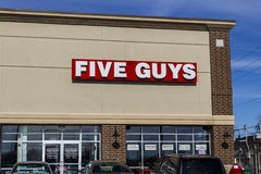 Indianapolis - Circa February 2017: Five Guys Restaurant. Five Guys is a Fast Casual Restaurant Chain in the US and Canada IV Stock Photo