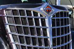 Indianapolis - Circa February 2017: Front End and Grille of a Navistar International Semi Tractor Trailer Truck I Stock Image