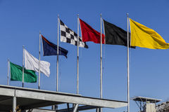 Indianapolis - Circa February 2017: The seven racing flags at Indianapolis Motor Speedway IV Stock Photos