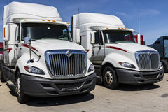 Indianapolis - circa giugno 2017: Autotreni internazionali del trattore dei semi di Navistar allineati per la vendita VII Immagine Stock