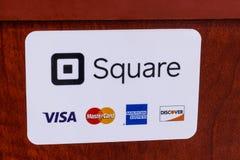 Indianapolis - circa im Mai 2018: Bewegliche Lohn- und Kreditmethoden einschließlich Quadrat, Visum, Master Card, American Expres lizenzfreie stockfotografie