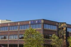 Indianapolis - circa im November 2016: Belden-Abteilungs-Hauptsitze Belden ist ein Hersteller von Vernetzungsprodukten I Lizenzfreie Stockfotografie