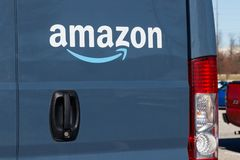 Indianapolis - Circa January 2019: Amazon Prime delivery van. Amazon.com is getting In the delivery business With Prime vans II. Amazon Prime delivery van stock photo