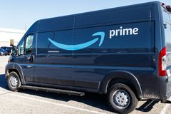 Indianapolis - Circa January 2019: Amazon Prime delivery van. Amazon.com is getting In the delivery business With Prime vans III. Amazon Prime delivery van stock photography