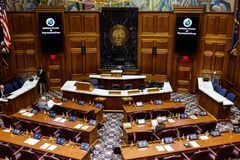 Indianapolis - Circa January 2019: Indiana State House of Representatives in session giving the Pledge of Allegiance I stock images