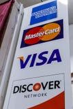 Indianapolis - Circa January 2019: VISA, MasterCard, Discover and American Express logos I. VISA, MasterCard, Discover and American Express logos. VISA stock images