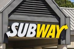 Indianapolis - Circa Juli 2017: De Plaats van de metrosandwich De metro is Ketting VI van de Wereld` s Grootste Onderzeese Sandwi Royalty-vrije Stock Afbeelding