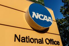 Indianapolis - Circa Juli 2018: Nationaal Collegiaal Atletisch Verenigingshoofdkwartier NCAA regelt universiteitsatletiek III stock afbeelding