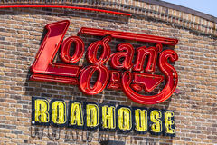 Indianapolis - Circa July 2017: Logan's Roadhouse Restaurant and Signage. Logan's is a leading casual dining steakhouse. Logan's Roadhouse Royalty Free Stock Photo