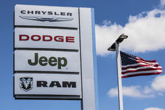 Indianapolis - Circa July 2017: Logo and Dealership Signage of the four Subsidiaries of FCA - Chrysler, Dodge, Jeep and Ram VII. Logo and Dealership Signage of stock image