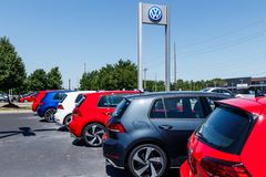 Indianapolis - Circa July 2018: Volkswagen Cars and SUV Dealership. VW is Among the World`s Largest Car Manufacturers XI Royalty Free Stock Photo