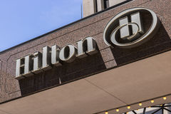 Indianapolis - Circa June 2017: Downtown Hilton Hotel Location. Hilton is a global brand of full-service hotels VI Stock Image