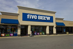Indianapolis - Circa June 2016: Five Below Retail Store. Five Below is a chain that sells products that cost up to $5 III. Indianapolis - Circa June 2016: Five Royalty Free Stock Images