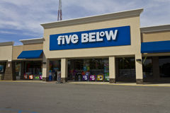 Indianapolis - Circa June 2016: Five Below Retail Store. Five Below is a chain that sells products that cost up to $5 V Stock Photography