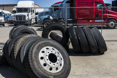 Indianapolis - Circa June 2017: Semi tractor trailer truck tires I Stock Photo