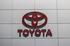 Indianapolis - Circa June 2017: Toyota Car and SUV Logo and Signage. Toyota is a Japanese Automaker Headquartered in Japan IV Royalty Free Stock Photo