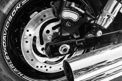 Indianapolis - Circa Maart 2017: Achterband, Remrotor en Uitlaatpijp van Harley Davidson II Royalty-vrije Stock Fotografie