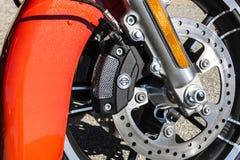 Indianapolis - Circa Maart 2017: Front Brake Caliper en Rotor van Harley Davidson IV Royalty-vrije Stock Afbeelding