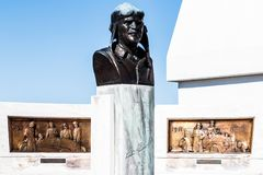 Indianapolis - Circa March 2018: Bust and plaque honoring Louis Chevrolet at Indianapolis Motor SpeedwaY VIII. Bust and plaque honoring Louis Chevrolet at stock image