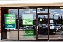 Indianapolis - Circa March 2019: H&R Block Retail Tax Preparation Location. Block Operates 12,000 Locations II. H&R Block Retail Tax Preparation Location. Block royalty free stock photo